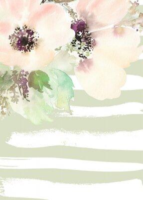 Obraz Přání s květinami. Pastelové barvy. Ruční.