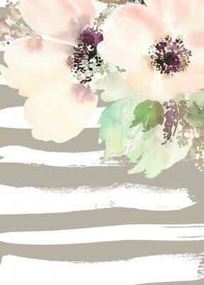 Obraz Přání s květinami. Pastelové barvy. Ruční. Akvarelu. Svatba, narozeniny, Den matek. Svatební sprcha.