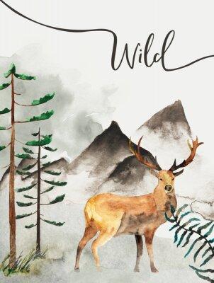 Obraz Přání s pozadím lesů a hor. Dětské téma. Pohlednice s jeleny. Volně žijících živočichů