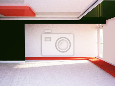 prázdná místnost s oknem, 3D vykreslování
