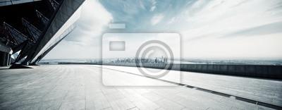 Obraz prázdné podlahy s moderní panoráma v new Yorku