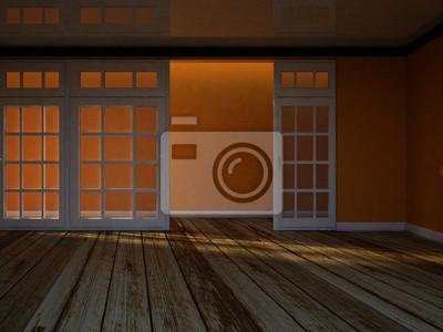 prázdný pokoj s velkými okny, 3d