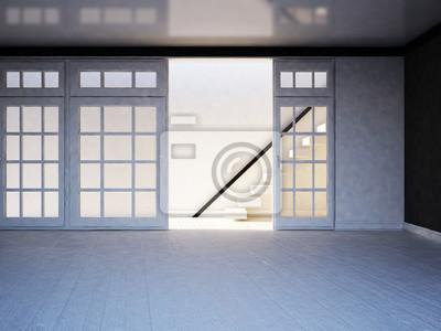 prázdný pokoj se schody, 3d