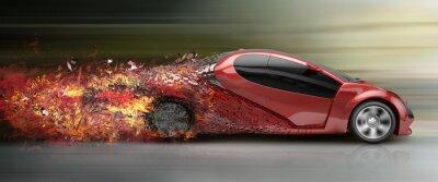 Obraz překročení povolené rychlosti automobilu rozpadající