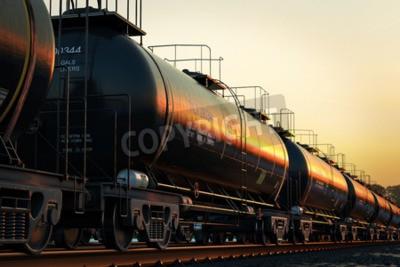 Obraz Přepravní cisterny s olejem při západu slunce.