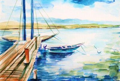 Obraz Přístav nad jeziorem genwskim - ilustracja ręcznie malowana
