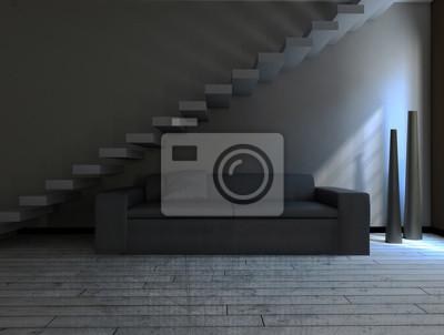 Prostor v šedých barvách, 3D rendering
