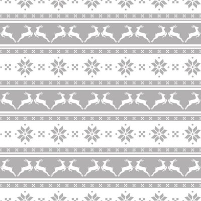 Obraz Pruhované vánoční vzorek s jeleny. Vector seamless background