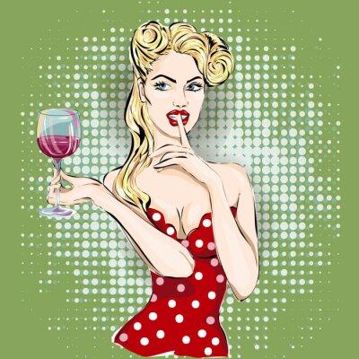 Obraz Psst pop art žena tvář s prstem na rtech a sklenkou vína