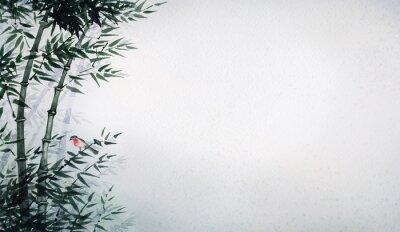 Obraz Ptáček v bambusovém háji. Obraz v japonském stylu