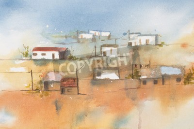 Obraz Původní akvarel, africké vesnice.