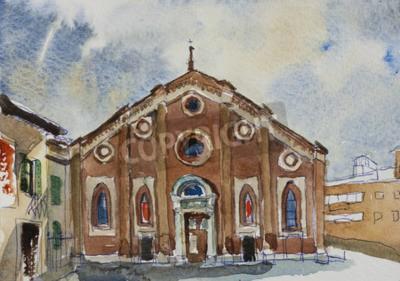 Obraz Původní akvarelu pohlednice fasáda of Santa Maria delle Grazie v Miláně, Itálie