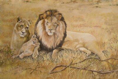 Obraz Pýcha lvů na dovolené