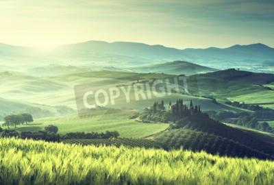 Obraz Ranní jarní ráno v Toskánsku, Itálie