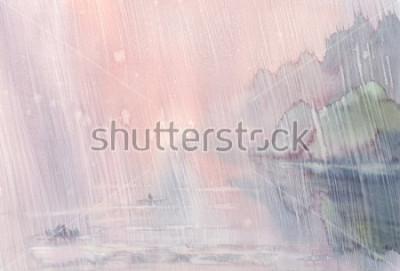 Obraz ráno déšť akvarel