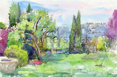 Obraz Ráno v italské zahradě. vodové barvy