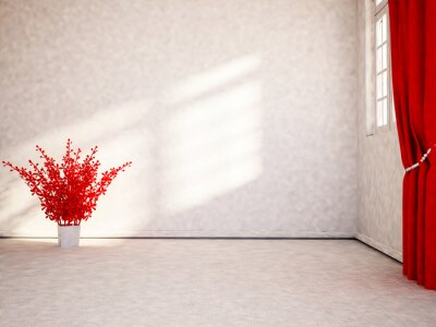 red plant in the room, 3d