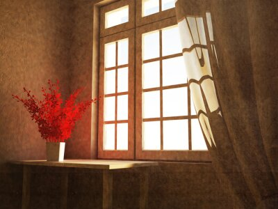 red plant near the window, 3d