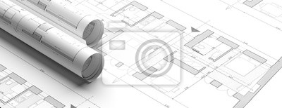 Obraz Residential building blueprint plans, banner. 3d illustration