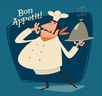 Obraz Restaurace kuchař, retro ilustrace