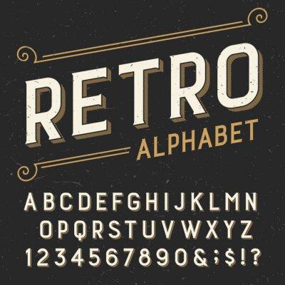 Obraz Retro abeceda vektorové písmo. Serif typu písmena, číslice a symboly. na tmavém pozadí nouzi poškrábaný. Stock vektor typografie pro štítky, titulky, plakáty atd.