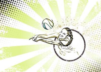 Obraz retro beach volleyball poster background