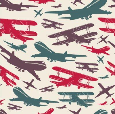 Obraz Retro bezproblémové šablony letounu, staré pozadí texturované pro plakát