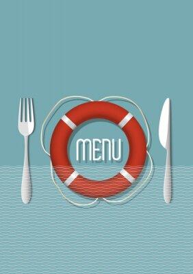 Obraz Retro design menu pro restauraci s mořskými plody - varianta 5