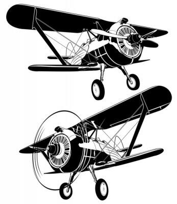 Obraz Retro dvojplošník siluety set. Dostupný vektorový formát EPS-8 oddělených skupinami a vrstvami pro snadnou úpravu