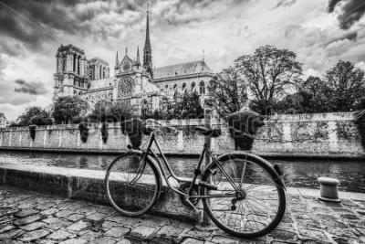 Obraz Retro kolo vedle katedrály Notre Dame v Paříži, Francie a řeky Seiny. Černá a bílá vinobraní