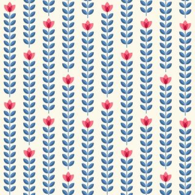 Obraz Retro květinovým vzorem, geometrické bezešvé květiny