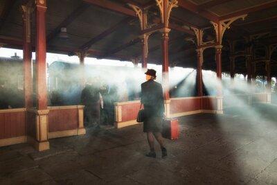 Obraz retro nádraží a kouř vlaku