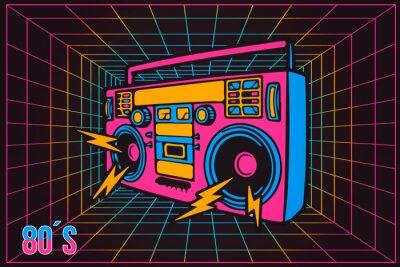 Obraz Retro Pop Party Osmdesátá léta Party Recorder, neonový kreslený styl