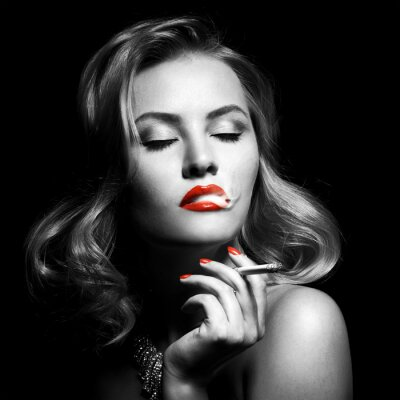 Obraz Retro portrét krásné ženy s cigaretou