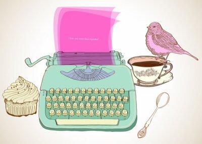 Obraz retro psací stroj pozadí