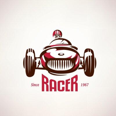 Obraz retro race car, vintage vector symbol, emblem, label template