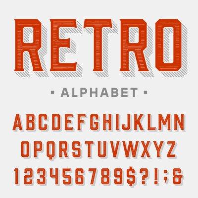 Obraz Retro vektorové písmo. Písmena, čísla a symboly. Vintage abecedy pro etikety, titulky, plakáty atd.