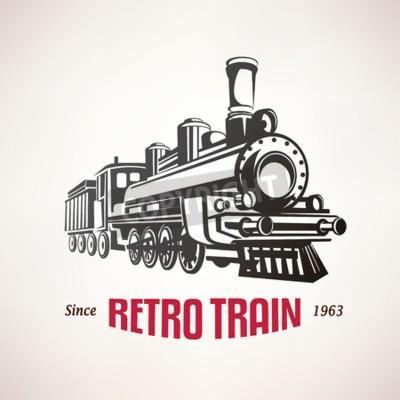 Obraz retro vlak, vinobraní vektor symbol, symbol, šablona štítek
