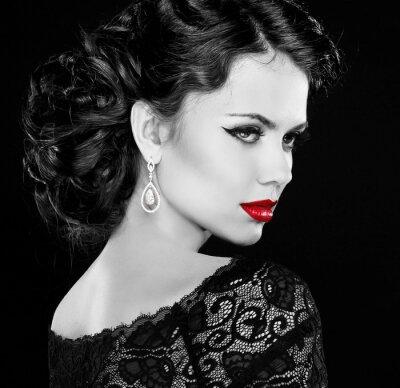 Obraz Retro žena. Black and white photo.