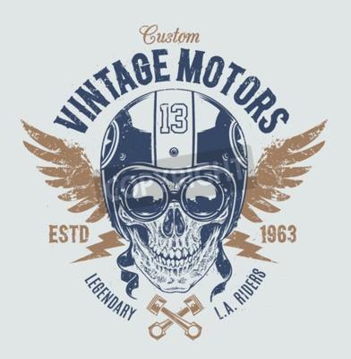 Obraz Rider lebka s retro atributy závodník. Grunge tisku. Vintage styl. Vektor.