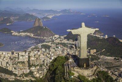 Obraz Rio de Janeiro, Brazil : Aerial view of Christ and Botafogo Bay