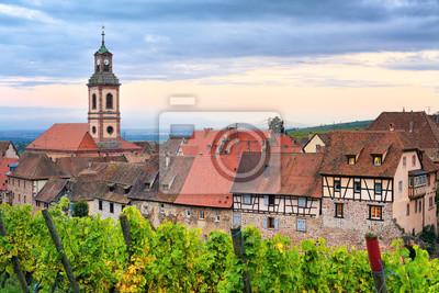 Riquewihr, Alsasko, Francie na západ slunce