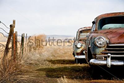 Obraz ročník auta opuštěná a hrdzavě pryč ve venkovském Wyomingu