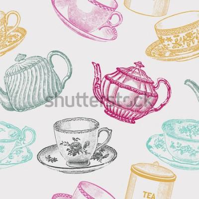 Obraz ročník čajový porcelán. bezešvé vzor