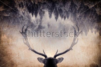 Obraz Ročník minimálního stylu dvojité expozice s paroží a lesy