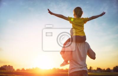Obraz rodina při západu slunce