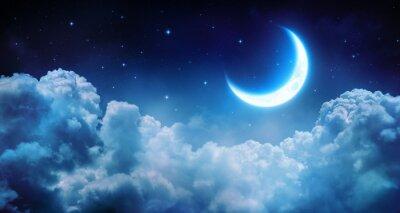 Obraz Romantický Měsíc hvězdné noci nad mraky
