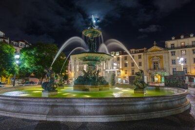 Rossio square with fountain - Lisbon Portugal