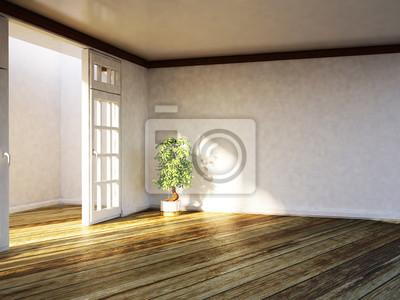 rostlina v prázdné místnosti, 3d
