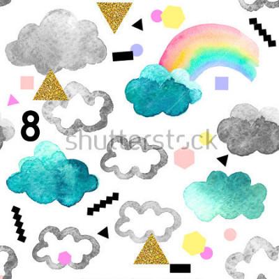 Obraz Roztomilé akvarelové mraky s duhovými a zlatými třpytivými prvky. Bezešvé vzorek s akvarely objekty izolovaných na bílém pozadí pro váš návrh: textil, tkanina, pohlednice.